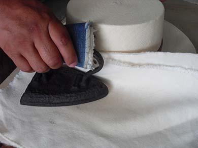 Ironing a Panama Hat