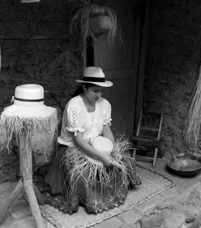 Cuenca - Old Photograph Straw Hat Weaver
